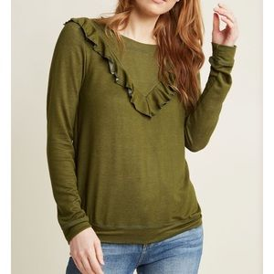 Modcloth olive ruffle pullover size L